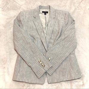 Ann Taylor grey vertical stripes Linen blazer  8
